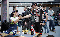 Tom Dumoulin (NLD/Giant-Alpecin) & Johan Esteban Chaves (COL/Orica-GreenEDGE) catching up ahead of the Grande Partenza in Apeldoorn (NLD): team presentation of the 99th Giro d'Italia 2016 on the evening before the 1st stage