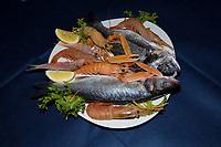 fish and crustaceans at the Ristorante La Margherita, Giglio Porto, Giglio Island, Tuscany Archipelago, Tuscany, Italy, Thyrrenian Sea, Mediterranean Sea