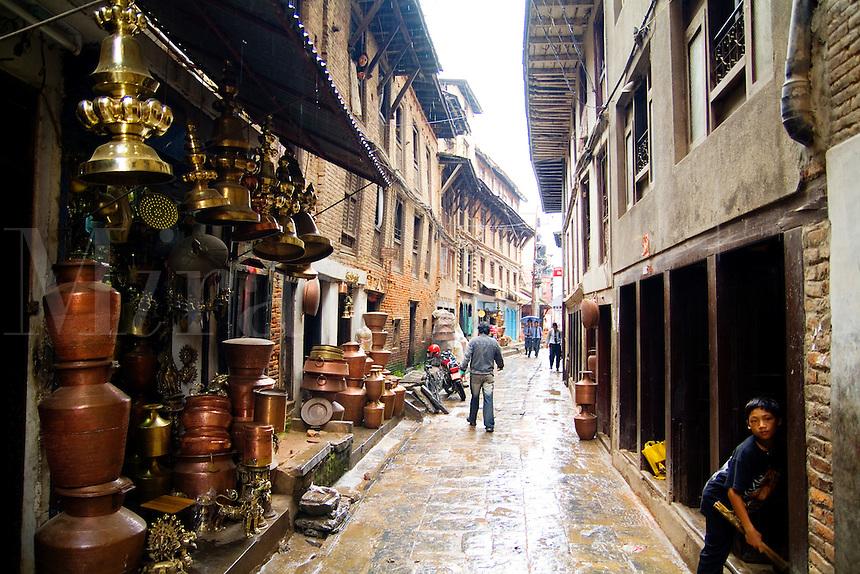 Street scene in Bhaktapur town near Kathmandu, Nepal