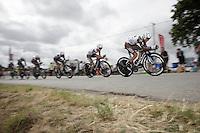 Jean-Christophe Péraud (FRA/Ag2r-La Mondiale) leading Team Ag2r-La Mondiale<br /> <br /> stage 9: TTT Vannes - Plumelec (28km)<br /> 2015 Tour de France