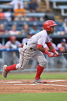 Hagerstown Suns second baseman Wilmer Difo #6 swings at a pitch during a game against the Asheville Tourists at McCormick Field September 8, 2014 in Asheville, North Carolina. The Tourists defeated the Suns 16-7. (Tony Farlow/Four Seam Images)