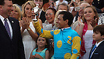 June 13, 2015 Jockey Victor Espinoza accepts his trophy for winning the 2015 Kentucky Derby on American Pharoah at Churchill Downs.  ©Mary M. Meek/ESW/CSM