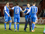 Hamilton Accies v St Johnstone…09.12.17…  New Douglas Park…  SPFL<br />Stefan Scougall is congratulated by his team mates at full time<br />Picture by Graeme Hart. <br />Copyright Perthshire Picture Agency<br />Tel: 01738 623350  Mobile: 07990 594431