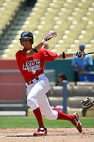 August 9 2008: Richie Shaffer participates in the Aflac All American baseball game for incoming high school seniors at Dodger Stadium in Los Angeles,CA.  Photo by Larry Goren/Four Seam Images