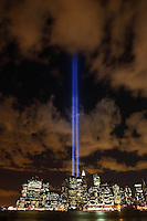 Tribute in Light 911 Memorial and the Manhattan Skyline as seen from Brooklyn across the East River.