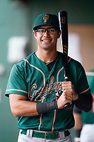 Outfielder Blake Sabol (35) of the Greensboro Grasshoppers poses for a portrait before a game against the Greenville Drive on Friday, July 23, 2021, at Fluor Field at the West End in Greenville, South Carolina. (Tom Priddy/Four Seam Images)