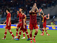 Calcio, Serie A: AS Roma vs Udinese, Olympic stadium, September 23, 2021.<br /> Roma's players celebrate after winning 1-0 the Italian Serie A football match between Roma and Udinese at Rome's Olympic stadium, on September 23, 2021.<br /> UPDATE IMAGES PRESS/Isabella  Bonotto