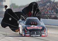 Apr. 26, 2013; Baytown, TX, USA: NHRA funny car driver Matt Hagan during qualifying for the Spring Nationals at Royal Purple Raceway. Mandatory Credit: Mark J. Rebilas-