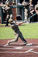 Vanderbilt Commodores second baseman Tate Kolwyck (6) takes a swing against the South Carolina Gamecocks at Hawkins Field in Nashville, Tennessee, on March 21, 2021. The Gamecocks won 6-5. (Danny Parker/Four Seam Images)