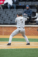 Chandler Seagle (5) of the Appalachian State Mountaineers at bat against the Wake Forest Demon Deacons at Wake Forest Baseball Park on February 13, 2015 in Winston-Salem, North Carolina.  The Mountaineers defeated the Demon Deacons 10-1.  (Brian Westerholt/Four Seam Images)