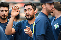 Designated hitter Ali Sanchez (7) of the Columbia Fireflies is greeted after scoring a run in a game against the Greenville Drive on Saturday, May 26, 2018, at Spirit Communications Park in Columbia, South Carolina. Columbia won, 9-2. (Tom Priddy/Four Seam Images)