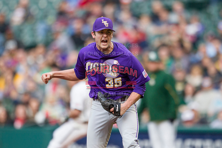 LSU Tigers pitcher Alex Lange (35) celebrates an inning ending strike out during the NCAA baseball game against the Baylor Bears on March 7, 2015 in the Houston College Classic at Minute Maid Park in Houston, Texas. LSU defeated Baylor 2-0. (Andrew Woolley/Four Seam Images)