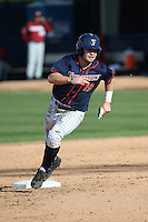 Dillon Persinger #19 of the Cal State Fullerton Titans runs the bases during a game against the Stanford Cardinal at Goodwin Field on February 19, 2017 in Fullerton, California. Stanford defeated Cal State Fullerton, 8-7. (Larry Goren/Four Seam Images)