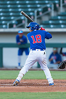 AZL Cubs 1 designated hitter Orian Nunez (18) at bat during an Arizona League playoff game against the AZL Rangers at Sloan Park on August 29, 2018 in Mesa, Arizona. The AZL Cubs 1 defeated the AZL Rangers 8-7. (Zachary Lucy/Four Seam Images)