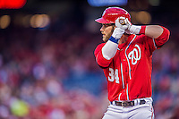 5 April 2014: Washington Nationals outfielder Bryce Harper at bat against the Atlanta Braves at Nationals Park in Washington, DC. The Braves defeated the Nationals 6-2 to take the second game of their 3-game series. Mandatory Credit: Ed Wolfstein Photo *** RAW (NEF) Image File Available ***