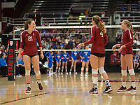 STANFORD, CA - NOVEMBER 17: Stanford, CA - November 17, 2019: Sidney Wilson, Meghan McClure, Kate Formico at Maples Pavilion. #4 Stanford Cardinal defeated UCLA in straight sets in a match honoring neurodiversity. during a game between UCLA and Stanford Volleyball W at Maples Pavilion on November 17, 2019 in Stanford, California.