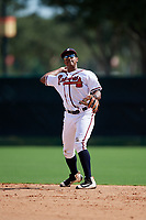 GCL Braves second baseman Braulio Vasquez (20) throws to first base during the first game of a doubleheader against the GCL Yankees West on July 30, 2018 at Champion Stadium in Kissimmee, Florida.  GCL Yankees West defeated GCL Braves 7-5.  (Mike Janes/Four Seam Images)