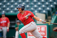 Lakewood BlueClaws right fielder Jhailyn Ortiz (13) hits a double during a game against the Greensboro Grasshoppers on June 10, 2018 at First National Bank Field in Greensboro, North Carolina.  Lakewood defeated Greensboro 2-0.  (Mike Janes/Four Seam Images)