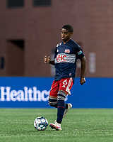 FOXBOROUGH, MA - AUGUST 21: Maciel #6 of New England Revolution II passes the ball during a game between Richmond Kickers and New England Revolution II at Gillette Stadium on August 21, 2020 in Foxborough, Massachusetts.
