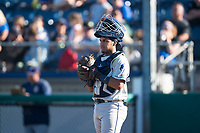 Tri-City Dust Devils catcher Alison Quintero (32) during a Northwest League game against the Everett AquaSox at Everett Memorial Stadium on September 3, 2018 in Everett, Washington. The Everett AquaSox defeated the Tri-City Dust Devils by a score of 8-3. (Zachary Lucy/Four Seam Images)