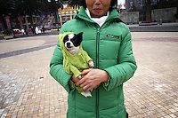 CHINA. Sichuan Province. Chongqing. A woman and her pet dog in a park near to The Yangtze River which is at its lowest level in 150 years as a result of a country-wide drought. Chongqing is a city of over 3,000,000 people, famed for being the capital of China between 1938 and 1946 during World War II. It is situated on the banks of the Yangtze river, China's longest river and the third longest in the world. Originating in Tibet, the river flows for 3,964 miles (6,380km) through central China into the East China Sea at Shanghai.  2008.