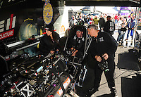 Feb. 26, 2011; Pomona, CA, USA; NHRA funny car driver Brian Thiel warms up his car during qualifying at the Winternationals at Auto Club Raceway at Pomona. Mandatory Credit: Mark J. Rebilas-.