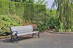 Bench in garden plaza at Oregon Gardens. Oregon Gardens, Silverton, Oregon, USA, an 80 acre botanical garden in the Willamette Valley.  Windy day.  HDR image.