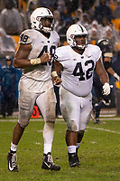 Penn State defensive end Shareef Miller (48) and defensive tackle Ellison Jordan (42) walk off the field after a safety. The Penn State Nittany Lions defeated the Pitt Panthers 51-6 on September 08, 2018 at Heinz Field in Pittsburgh, Pennsylvania.