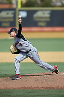 Louisville Cardinals relief pitcher Rabon Martin (40) delivers a pitch to the plate against the Wake Forest Demon Deacons at David F. Couch Ballpark on March 18, 2018 in  Winston-Salem, North Carolina.  The Demon Deacons defeated the Cardinals 6-3.  (Brian Westerholt/Four Seam Images)