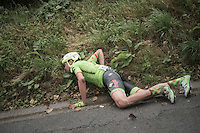 Jack Bauer (NZL/Cannondale-Drapac) seriously crashed at high speed in a descent<br /> <br /> 12th Eneco Tour 2016 (UCI World Tour)<br /> Stage 7: Bornem › Geraardsbergen (198km)