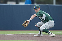 Michigan State Spartans third baseman Marty Bechina (2) fields a ground ball against the Michigan Wolverines on May 19, 2017 at Ray Fisher Stadium in Ann Arbor, Michigan. Michigan defeated Michigan State 11-6. (Andrew Woolley/Four Seam Images)