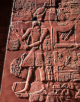 Inscription on the walls in the Great Hypostyle Hall. Karnak Temple. Luxor. Egypt.