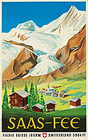 BNPS.co.uk (01202 558833)<br /> Pic: Lyon&Turnbull/BNPS<br /> <br /> Pictured: A vintage poster Saas-Fee in Switzerland<br /> <br /> A stunning set of vintage ski posters depicting the halcyon days of European winter holidays has emerged for sale.<br /> <br /> They feature early lithograph prints of advertising posters for glamorous resorts including Champery and Gstaad.<br /> <br /> The earliest posters in the sale date from the turn of the 20th century, with the most recent examples from the 1960s.<br /> <br /> Seventy posters, which range in value from £300 to £9,000, are being sold by Lyon & Turnbull, of Edinburgh, in conjunction with poster specialists Tomkinson Churcher.<br /> <br /> As transport links improved in the 1920s and '30s, skiing holidays grew in popularity. To take advantage of this boom, prestigious resorts commissioned the finest graphic artists to create art deco style advertisements urging holiday-makers to visit.