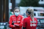 Lotto-Soudal Ladies at sign on before Liege-Bastogne-Liege Femmes 2020, running 135km from Liege to Liege, Belgium. 4th October 2020.<br /> Picture: ASO/Thomas Maheux | Cyclefile<br /> All photos usage must carry mandatory copyright credit (© Cyclefile | ASO/Thomas Maheux)