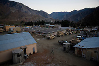 A US soldier walks at Forward Operating Base (FOB) Blessing in the Pesh Valley.