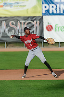 D.J. Burt (1) the Idaho Falls Chukars second baseman throws to first base against the Ogden Raptors in Pioneer League action at Lindquist Field on August 26, 2015 in Ogden, Utah. Ogden defeated the Chukars 5-1.  (Stephen Smith/Four Seam Images)