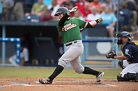 Savannah Sand Gnats designated hitter Matt Oberste #23 swings at a pitch during a game against the  Asheville Tourists at McCormick Field July 17, 2014 in Asheville, North Carolina. The Tourists defeated the Sand Gnats 8-7. (Tony Farlow/Four Seam Images)