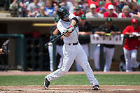 Brantley Bell (3) of the Dayton Dragons makes contact with the baseball during the game against the West Michigan Whitecaps at Fifth Third Field on May 29, 2017 in Dayton, Ohio.  The Dragons defeated the Whitecaps 4-2.  (Brian Westerholt/Four Seam Images)