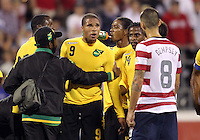 COLUMBUS, OHIO - SEPTEMBER 11, 2012:  Clint Dempsey (8) of the USA MNT argues with Ryan Johnson (9) of  Jamaica during a CONCACAF 2014 World Cup qualifying  match at Crew Stadium, in Columbus, Ohio on September 11. USA won 1-0.