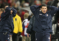 Coaches of Costa Rica after the USA had tied the game during a 2010 World Cup qualifying match in the CONCACAF region at RFK Stadium on October 14 2009, in Washington D.C.The match ended in a 2-2 tie.