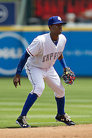 Round Rock Express shortstop Jurickson Profar #10 on defense against the New Orleans Zephyrs in the Pacific Coast League baseball game on April 21, 2013 at the Dell Diamond in Round Rock, Texas. Round Rock defeated New Orleans 7-1. (Andrew Woolley/Four Seam Images).