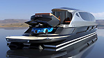 Pictured: Exterior view of the Xenos with the completely free Bugatti Chiron<br /> <br /> The world's first £52 million hyper yacht concept has been created - and it comes with a free £4 million Bugatti Chiron supercar.  The Xenos will have 15,000 horsepower, and be able to hit a top speed of more than 100mph, according to its creators at Lazzarini Design Studio.<br /> <br /> The 130ft-long Xenos would be made of aluminium and carbon and is said to be 'designed for comfortable high speed cruises.'  The sleek, black and chrome yacht has auto tinting windows, as well as roof mounted solar panels, and will also be available as an electric powered model.  SEE OUR COPY FOR DETAILS.<br /> <br /> Please byline: Lazzarini Design Studio/Solent News<br /> <br /> © Lazzarini Design Studio/Solent News & Photo Agency<br /> UK +44 (0) 2380 458800