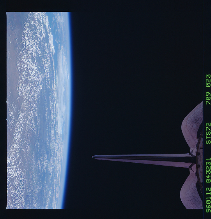 John Angerson. STS-72 Book.<br /> Public Domain Image.<br /> NASA images Courtesy National Archives - Record Group number: 255-STS-STS072
