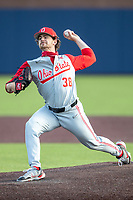 Ohio State Buckeyes pitcher Patrick Murphy (38) delivers a pitch to the plate against the Michigan Wolverines on April 9, 2021 in NCAA baseball action at Ray Fisher Stadium in Ann Arbor, Michigan. Ohio State beat the Wolverines 7-4. (Andrew Woolley/Four Seam Images)