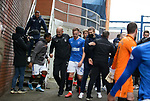 06.03.2021 Rangers v St Mirren: Gary McAllister with the players at the gates at fullk time