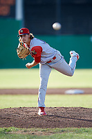 Williamsport Crosscutters starting pitcher Ethan Lindow (19) delivers a pitch during a game against the Batavia Muckdogs on June 21, 2018 at Dwyer Stadium in Batavia, New York.  Batavia defeated Williamsport 6-5.  (Mike Janes/Four Seam Images)