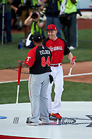 Cincinnati Reds Todd Frazier shakes hands with Texas Rangers Cecil Fielder during introductions before the MLB Home Run Derby on July 13, 2015 at Great American Ball Park in Cincinnati, Ohio.  (Mike Janes/Four Seam Images)