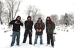 Various portrait sessions of the rock band, Damageplan