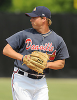 July 15, 2009: LHP Matt Crim (15) of the Danville Braves, rookie Appalachian League affiliate of the Atlanta Braves, prior to a game at Dan Daniel Memorial Park in Danville, Va. Photo by:  Tom Priddy/Four Seam Images