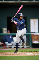 New Hampshire Fisher Cats first baseman Juan Kelly (25) at bat during the second game of a doubleheader against the Harrisburg Senators on May 13, 2018 at FNB Field in Harrisburg, Pennsylvania.  Harrisburg defeated New Hampshire 2-1.  (Mike Janes/Four Seam Images)